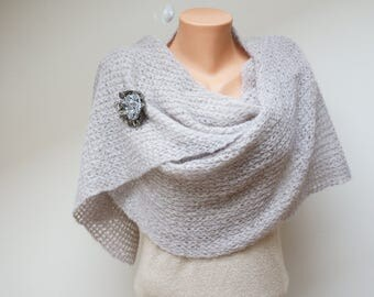 Grey large angora knit wool shawl wrap scarf with flower brooch pin crochet handmade necklace neckwarmer pale pink ash stole extra long