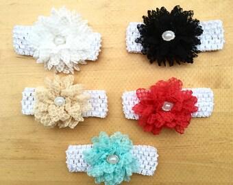 Lace Flower on Crochet Headband