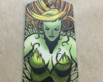 Poison Ivy Upcycled Comic Book Dog Tag, Includes Necklace or keychain. Poison Ivy dog tag. Poison Ivy keychain