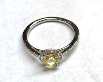 Yellow Sapphire Ring/ 14 K White Gold Ring/ Natural Sapphire Ring