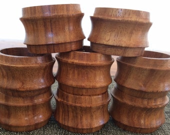 Vintage Wood Napkin Rings Set of 8 Made in India