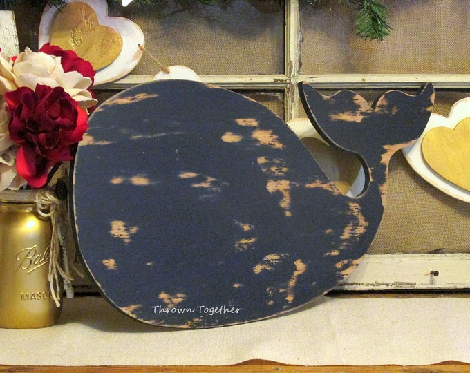 "Navy Blue Whale Wall Art, Rustic Wood Decor, Blue Whale Nursery Decor, Nautical Gallery Wall, Distressed Wall Art, 24"" Handmade Whale Sign"