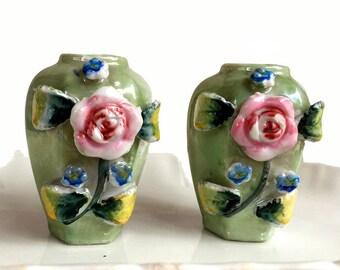 Miniature Lusterware Vases / Occupied Japan / Floral Design / Porcelain Vase / Wedding Bridal Shower Decor / Cottage Shabby Chic