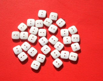 """Vintage Small Square White Plastic Buttons, Doll Clothes Craft Sewing, 14L 9 mm 3/8"""", Lot of 30 Buttons"""