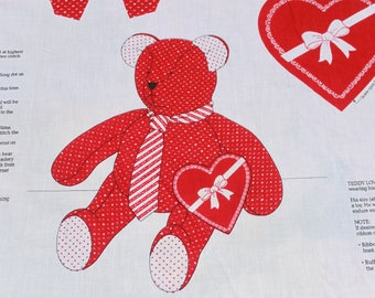 Vintage Cut and Sew Red White Teddy Bear,  Valentines Day Heart Plush DIY Craft Fabric, Easy Kids Sewing Project