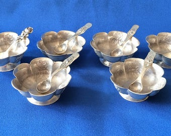 Antique Sterling Silver Salt Cellars, Spoons [Drw]