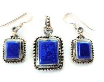 Vintage Lapis Silver Earring and Pendant Set Sterling 925