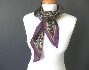 Purple silk scarf - long silk scarf - purple, green and gold silk scarf - floral silk scarf - long floral print scarf