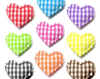 "100pcs x 3/4"" Assorted Gingham Cotton Heart Padded/Appliques - Red/Pink/Blue/Orange/Green/Yellow/Brown/Purple/Black"