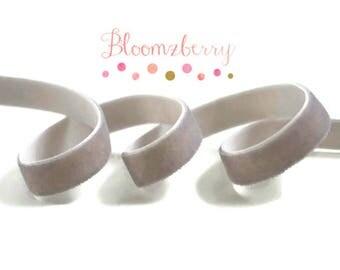 """3/8"""" Velvet Elastic  - Lt Silver Color - Light Gray Stretchy Velvet Elastic - None Glitter - Black Elastic - Hair Accessories  Supplies"""