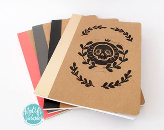 Hand printing Notebook craft cover Motif Leaves
