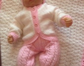 Baby Layette, Romper, Sweater, Hat, Booties and Blanket in Pink and White 0-3 Month Ready to Ship now