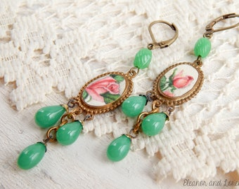Recycled rose earrings / assemblage earrings / assemblage jewelry / vintage earrings / shabby jewelry / shabby chic / upcycled earrings
