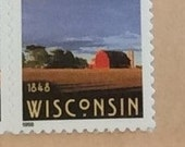 Custom postage stamp puzzle with Wisconsin stamp