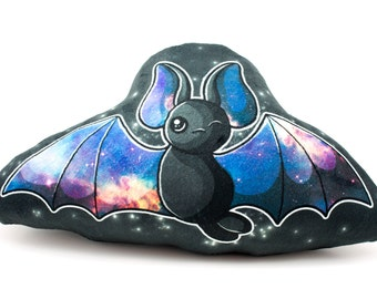 Large Black Galaxy Bat Pillow, Plush Pillow, Stuffed Animal