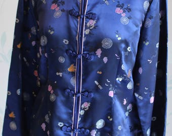 Vintage CHINESE JACKET in NAVY Uk Size 8-10 So Very Pretty