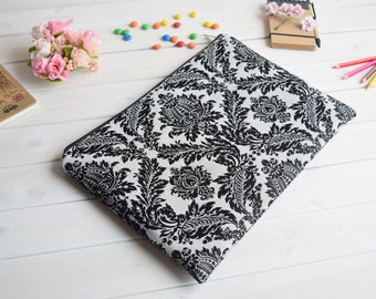 Black damask MacBook Air Pro 13 sleeve, MacBook Pro 13 Retina, MacBook 15 sleeve, MacBook 12 case, MacBook Air 11 Case, iPad Air/Pro case