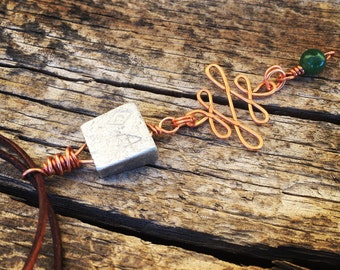 Rock Climber's Necklace - Repurposed Reversible Vintage Climbing Stopper on Brown Leather Cord with Copper