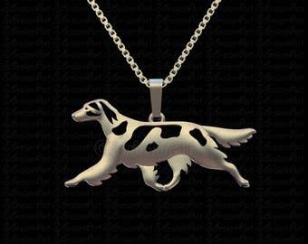 Irish Red and White Setter - sterling silver pendant and necklace.