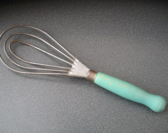 Vintage Metal Whisk/Beater With Green Wooden Handle
