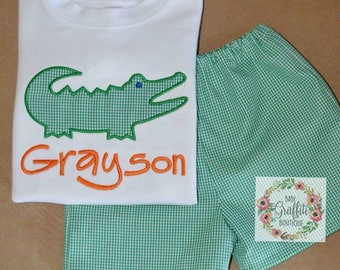 Monogrammed Alligator Green Gingham Shirt and Short Set