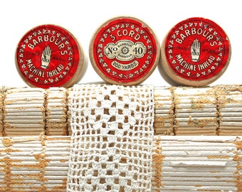 Vintage Barbour's Irish Linen Thread*Sewing Collectible*Set of 3 Unused Wooden Spools of thread