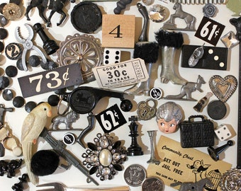 Black and Silver Junk Drawer Findings with Vintage Cracker Jack Toys  Game Pieces  Dime Store Finds