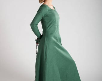 "Medieval Long Linen Green Dress Tunic ""Elise"""