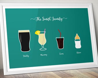 Personalised Family Art - Favourite Drinks - Kitchen Art - Drink Poster - Various Sizes Available