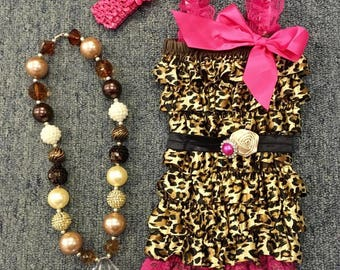 Pink Cheetah Print Romper with Matching Belt, Headband and Necklace