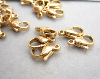 Lobster clasp, 304 Stainless steel clasp, gold color stainless, 12x7x4mm, medium size, PH-002