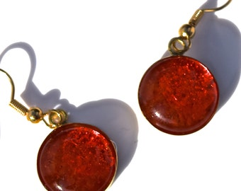 Round Orange Recycled Glass Earrings