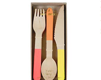Wooden Cutlery Set - Neon - party first birthday wood forks knives spoons