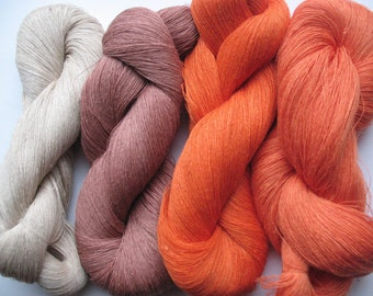 Linen Yarn Brown Orange Beige Gray 400 gr (14 oz ), Cobweb / 1 ply, each hank contains approximately 3000 yds