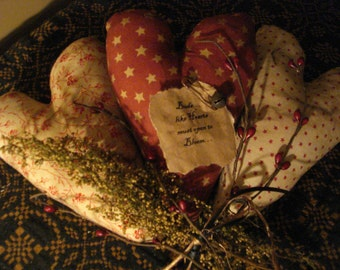 SALE!!!   Primitive Set of Three Heart Ornies, Sweet Annie, Pip Berries, Valentine's Day Was 15.00,now 12.00