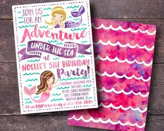 Mermaid Party Invitation, Mermaid Theme Party, Under the Sea Party Invitation, Mermaid Birthday Invitation, Printable Mermaid Invitation