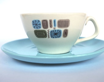 Mid Century Modern Temporama Coffee Cup and Saucer Set by Canonsburg Multiples Available 1960s Dinnerware