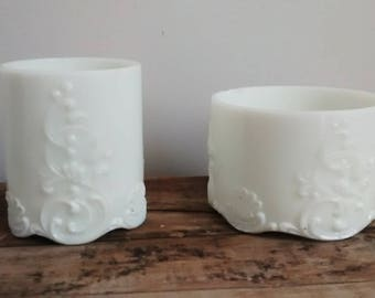 Pair of Vintage Milkglass Vases