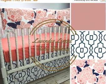10% OFF FLASH SALE Brooke Floral Girl Crib bedding in Navy, Coral, and Peach: Modern, shower gift,crib skirt girl-Floral fabric only found a