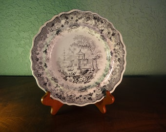 STAFFORDSHIRE Vintage China, Antique  Black Transferware  Dinner Plate, ASIATIC, c. 1823, English Cottage