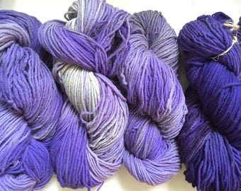 40% Off Farmhouse Merino Hand Dyed Wool Yarn Worsted Purple 200 yards 4 Oz
