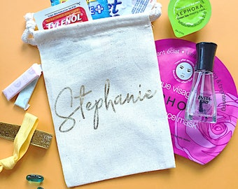 Personalized Bridesmaid gift bag- Bridesmaid name gifts- Bachelorette party favors- Wedding favor- Jewelry bag- Thank you gift- bridal party