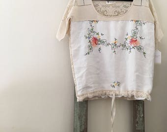 Women's Cotton and Lace Embroidered Blouse .Free Size.
