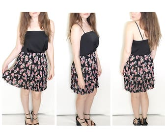 Vintage floral mini skirt high waist floral print mini skirt mini skater skirt pleated skirt size medium