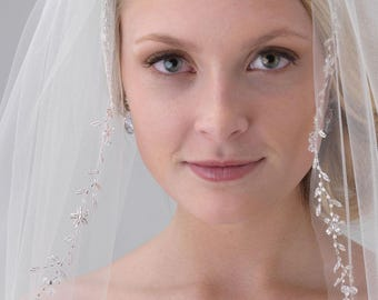 Floral Wedding Veil, Swarovski Crystal Bridal Veil, Ivory Veil, Tulle Veil, Fingertip Veil, Crystal Edge Veil,Bridal Hair Accessory ~VB-5071