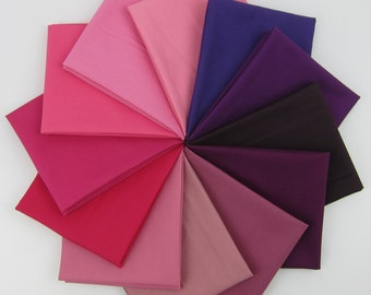 Gimme Half the Kona Purple to Pink Fat Quarter Bundle - 12 Fat Quarters - 3 Yards Total