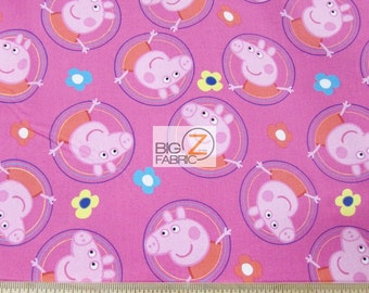 100% Cotton Quilt By Springs Creative - Peppa Pig Badges Pink - By The Yard (FH-3088) Clothing Decor Party Theme Licensed