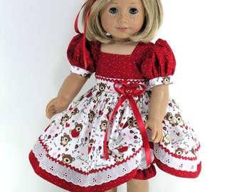 Handmade 18 inch Doll Clothes for American Girl - Dress, Headband, Bloomers - Bear Hugs, Hearts - Shoes, Socks Option