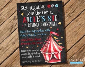 Carnival Invitation, Carnival Tent Invitation, Carnival Birthday Party, State Fair Birthday, Printable Birthday Party Invitation