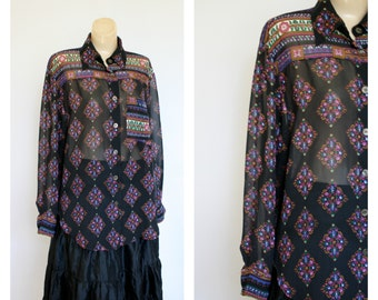 Vintage 1980s Blouse / 80s Bohemian Blouse / Vintage Sheer Boho Blouse / Oversized Sheer Floral Blouse